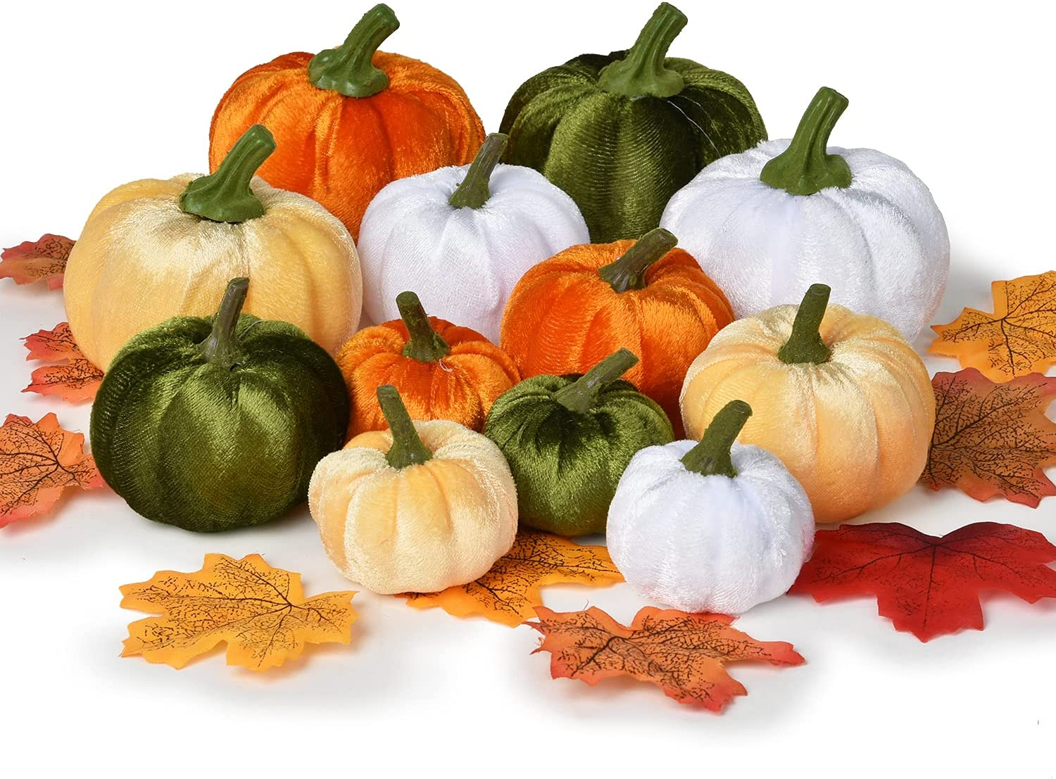 DearHouse 62Pcs Same Houston Mall day shipping Artificial Pumpkins Maple Decoratio Harvest Fall