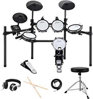 Donner DED-200 Electric Kit Electronic with Mesh Head 8 Piece, Drum Throne, Sticks Headphone & Audio Cable Included, More Stable Iron Metal Support Set