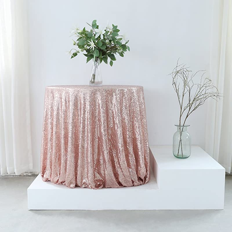 GFCC Rose Gold 72 Sequin Tablecloth Christmas Table Cloth Banquet Cover Wedding Party Christmas Decoration Supplies