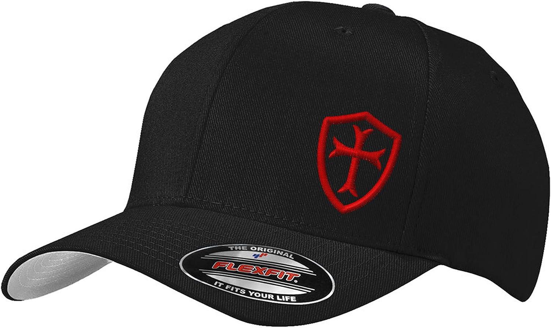 Knights Templar Crusader Cross Baseball Flexfit Hat   Custom Embroidered