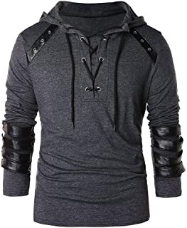 Beautyfine Mens Vintage Drawstring Hooded Tops Winter Leather Patchwork Long Sleeve Blouses