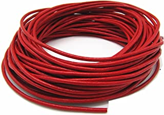 2.0mm Genuine Round Leather Cord for Bracelet Neckacle Beading Jewelry Making 10 Meter (Red)
