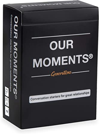 OUR MOMENTS Generations: 100 Thought Provoking Conversation Starters Questions Game. Gift for Grandparents and Grandchildren - Fun Meaningful Communication for Kid w/ Grandma & Grandpa