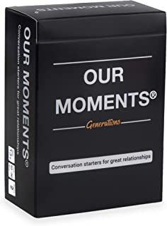 OUR MOMENTS Generations: 100 Thought Provoking Conversation Starters Questions Game. Grandchildren to Grandparents - Fun Meaningful Communication For Kid w/ Grandma & Grandpa. Gift For Family Holidays