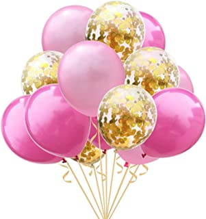 15Pcs 12inch Clear Latex Ballons and Golden Sequins Confetti Ballon Wedding Decoration Happy Birthday balloons Party Supplies, Pink & Golden