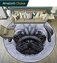 Pug Round Area Rug Young Puppy Giant Eyes Indoor Floor Area Mat Diameter-31