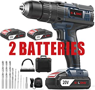 Cordless Drill Driver Kit,Cordless Drill with 2 Batteries and Fast Charger,20V Max Impact Hammer Drill Set,1/2