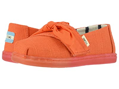 TOMS Kids Alpargata (Infant/Toddler/Little Kid) (Salmon Heritage Canvas/Bow/Ombre Ice Outsole) Girl