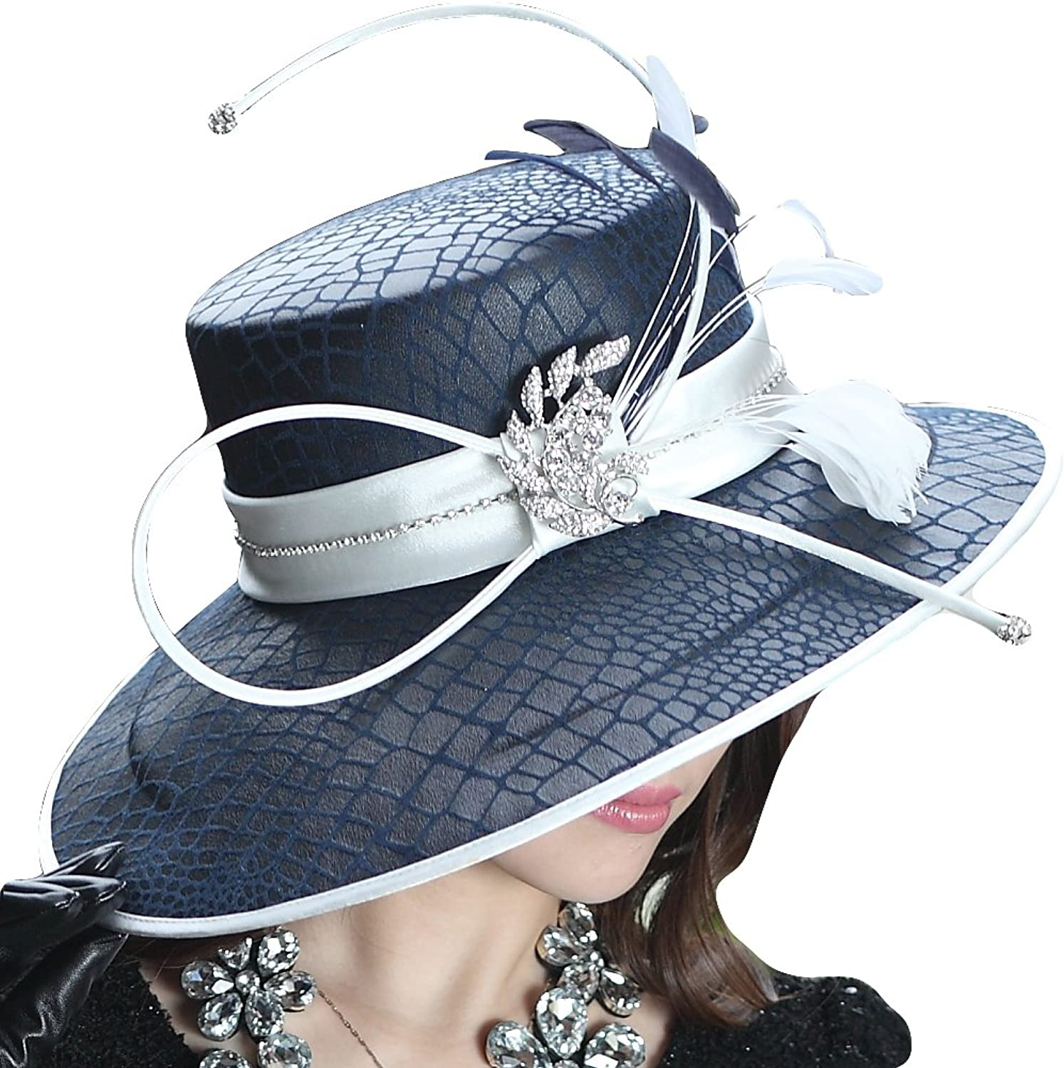 June's Young Ladies' Formal Hat Wide Brim Formal Dress Hat Feather Leather