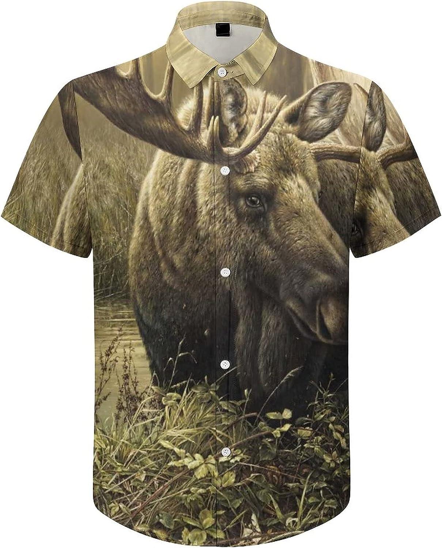 Men's Short Sleeve Button Down Shirt Forest Moose Painting Summer Shirts