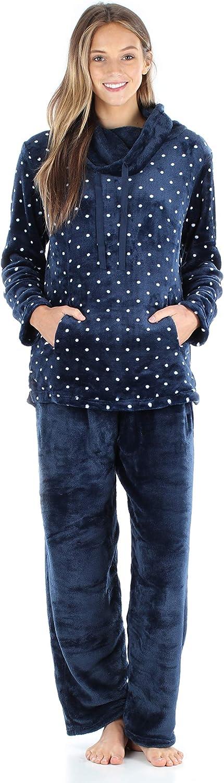 Sleepyheads Women's Fleece Pullover with Pocket 2-Piece Loungewear PJs