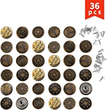Twdrer 36PCS 20mm Replacement Jean Buttons, Combo Copper Tack Brass Antique Color Pattern Engraved Shileded Metal Snap Jacket Buttons(6 Patterns)