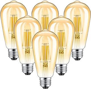 Kohree LED Edison Bulbs, 6W Dimmable Filament Vintage Light Bulbs 2300K Warm White Amber Gold Glass ST58 E26 Base Pack of 6