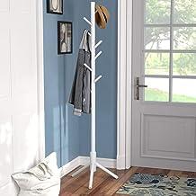 Vlush Sturdy Coat Rack Stand, Entryway Hall Tree Wooden Coat Rack Hanger for Coat,Jacket,Hat,Clothes,Purse,Scarves,Handbag...