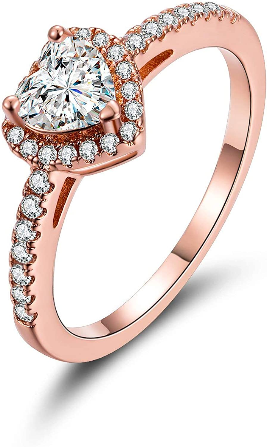 MDFUN Luxurious 18k Gold Plated Cubic Zirconia Wedding Engagement Rings Eternity Bridal Band Halo Rings