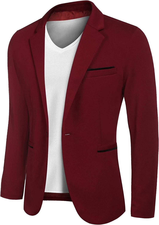 JINIDU Men's Casual Sports Coats Lightweight Suit Blazer Jackets One Button