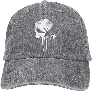 Men Vintage Adjustable Cap Design Sleeve T-Shirt New Daredevil Punisher Skull Logo Fashion Cowboy Hat, Blue