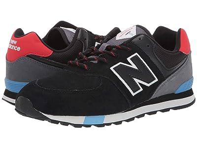 New Balance Kids 574v1-USA (Big Kid) (Black/Velocity Red) Kids Shoes
