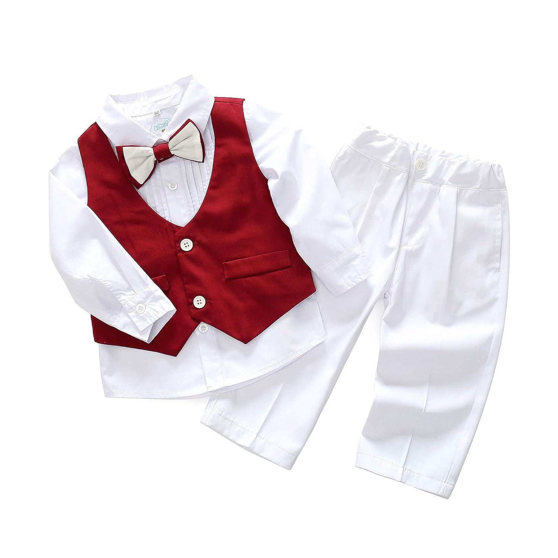 Mornyray ベビー服 ワイシャツ ロングパンツ ベスト 蝶ネクタイつき フォーマル スーツ 長袖 4点セット 男の子 幼児 size 110 (ホワイト+ワイン色)