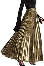 PleatedMaxiSkirt for Women - Metallic Accordion Skirt Great for Travel, Date Night, Summer Party