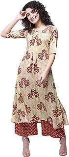 Zoeyams Womens Multicolored Cotton Printed Long Straight Kurti With Cotton Palazzo