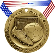 Decade Awards Soccer World Class Medal - 3 Inch Wide Futbol Medallion with Stars and Stripes American Flag V Neck Ribbon