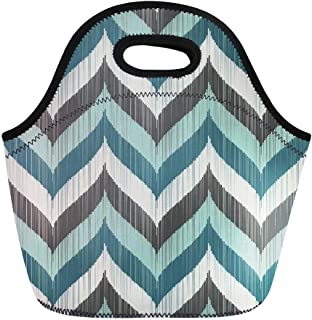 Semtomn Lunch Tote Bag Teal Aqua Chevron Pattern Gray Turquoise Abstract Braids Color Reusable Neoprene Insulated Thermal Outdoor Picnic Lunchbox for Men Women