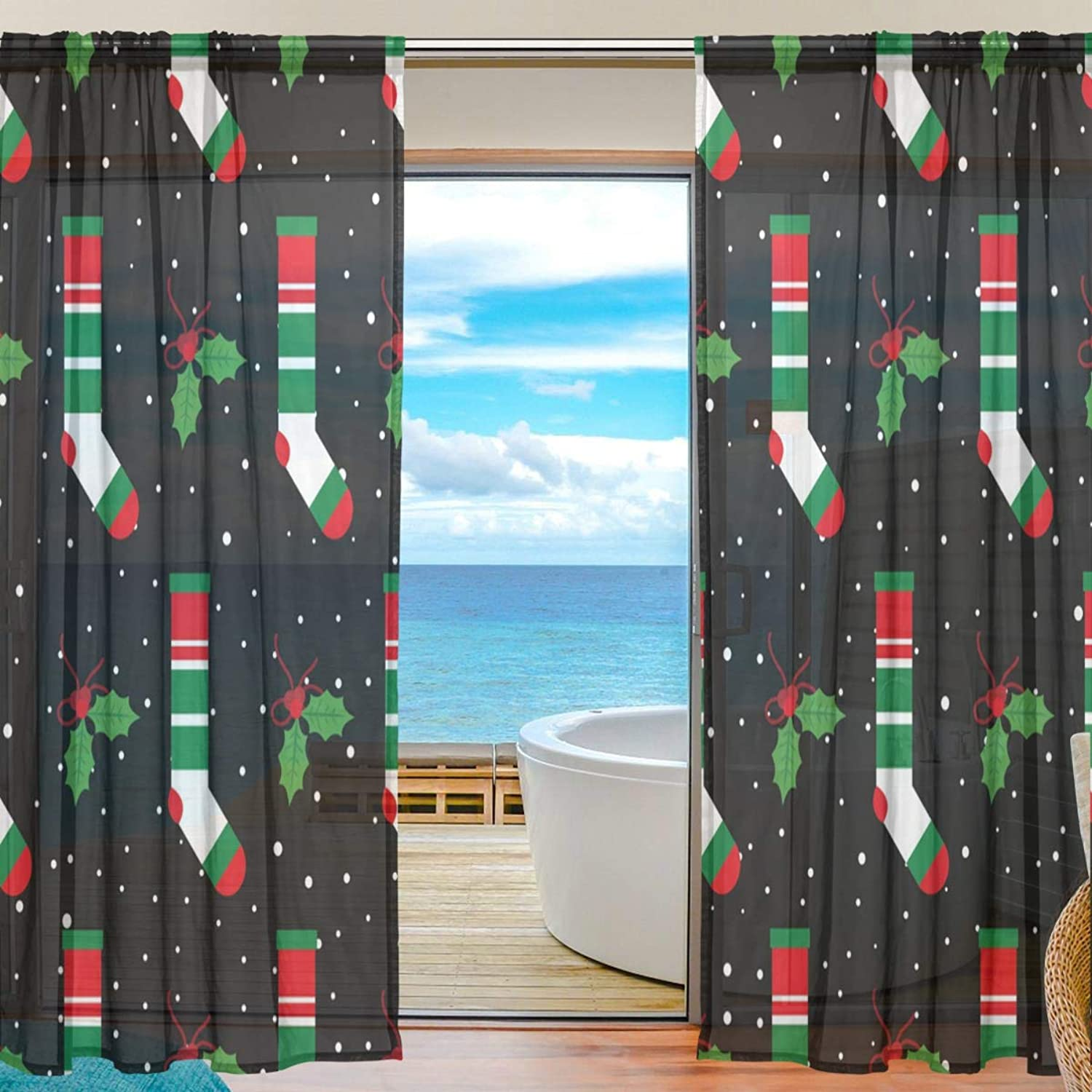 Christmas Socks 2 Pieces Curtain Panel 55 x 78 inches for Bedroom Living Room
