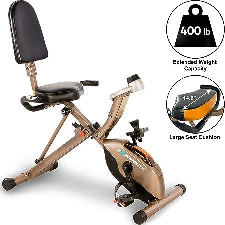 Exerpeutic GOLD 525XLR - Bicicleta estática plegable (peso máximo del usuario de 181 kg)