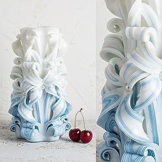 Candela Intagliata per Cerimonia Nuziale - Colori Delicati Blu E Bianco - Decorazione Fatta A Mano in Paraffina - EveCandles
