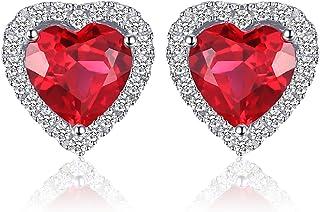 Pendientes Corazón del océano 3.8ct Rubí rojo creado Amor para siempre Halo Aretes Plata de ley 925