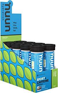 Nuun Sport + Caffeine: Electrolyte Drink Tablets, Fresh Lime, (80 Servings), 10 Count (Pack of 8)