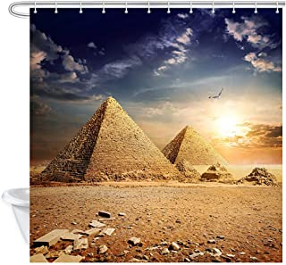 JAWO Egypt Travel Shower Curtain Fabric for Bathroom, Old Egyptian Pyramids History in Desert with Flying Eagle Bird Nature Sunshine, Egyptian Landscape Bath Curtains with Hooks, 69X70 Inches