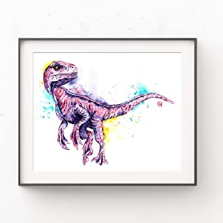 Velociraptor Wall Art by Whitehouse Art | Dinosaur Decor, Dinosaur Room Decor For Boys, Dinosaur Gifts, Boy Bedroom, Nursery Decor | Professional Print of a Raptor Original Watercolor Painting 5Sizes