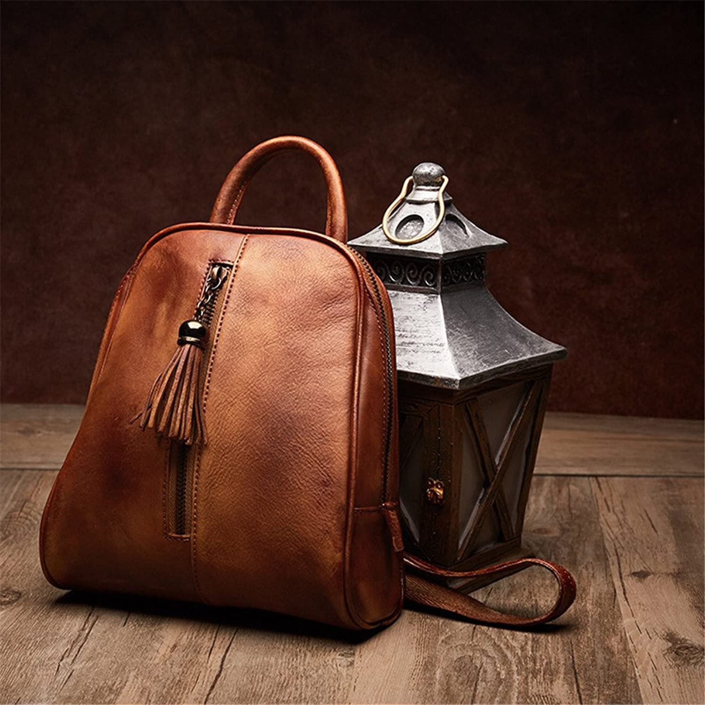 FONKIC Frauen-Rucksack-Echtes Leder-zuflliger Schulter-Beutel-Handtaschen Reise-Tagesrucksack