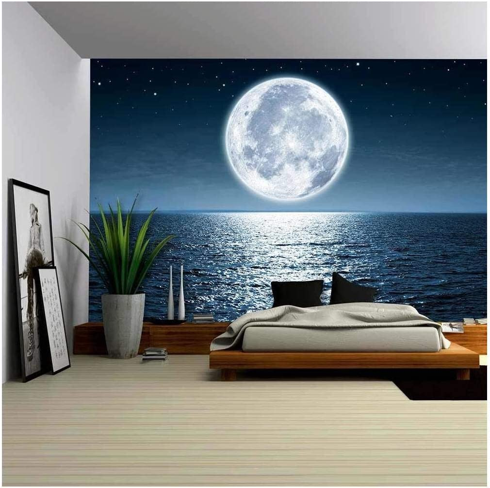 wall26 - Full Moon Factory outlet Rising Over The Night with at Max 47% OFF Empty Ocean Cop