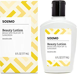 Amazon Brand - Solimo Beauty Lotion for Sensitive Skin, Broad Spectrum SPF 15 Sunscreen, 6 Fluid Ounce