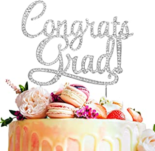 LINGPAR Congrats Grad Metal Rhinestone Cake Topper - Perfect Class 2019 Crystal Graduation Decorations Party Supplies for Grad Party Silver