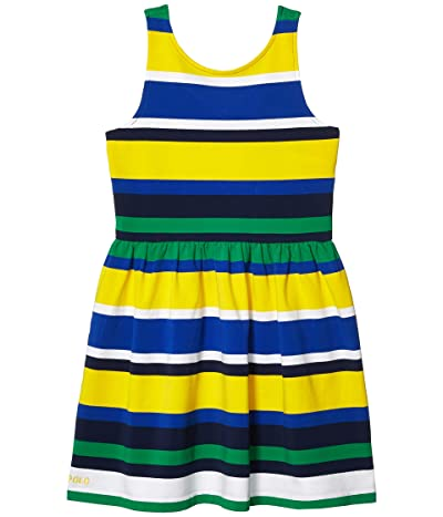 Polo Ralph Lauren Kids Striped Stretch Jersey Dress (Little Kids/Big Kids) (Lemon Rind Multi) Girl