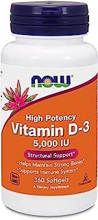 Now Foods Vitamin D3 (Cholecalciferol) - 5,000 IU, 360 Softgels - High Potency Bone Health and Immunity Support Supplement, Mood Booster - Halal, Kosher - 360 Servings