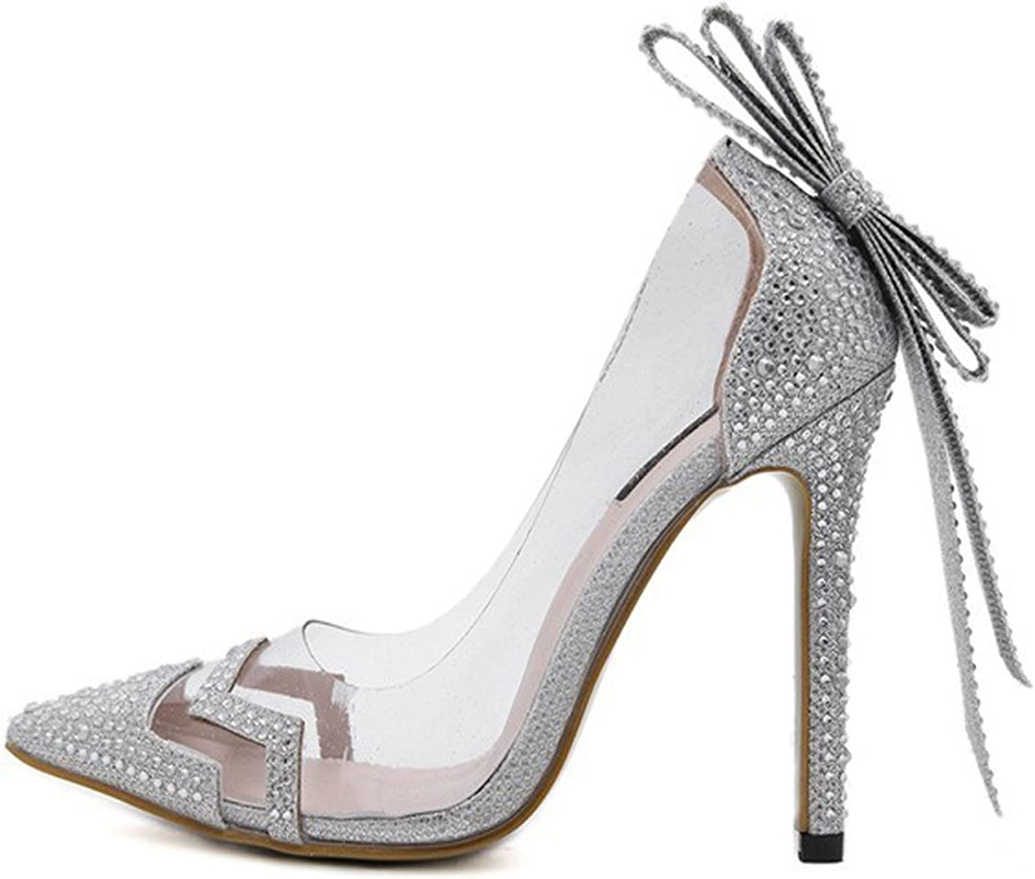 Willie Marlow Women Pumps Crystal PVC Clear Wedding shoes Bowtie Butterfly Knot Sandals Silver High Heel