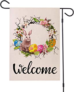 Easter Pepps Garden Flag, Welcome Floral Wreath Garden Flag with Rabbit Patterns Vertical Double Sided 12 x 18 Inch Spring...