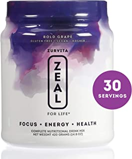 Zurvita Zeal for Life 30 Day Wellness Canister, Bold Grape, 420 Grams | Super Greens Powder Boosts Energy, Reduces Inflammation, and Assists Immune System