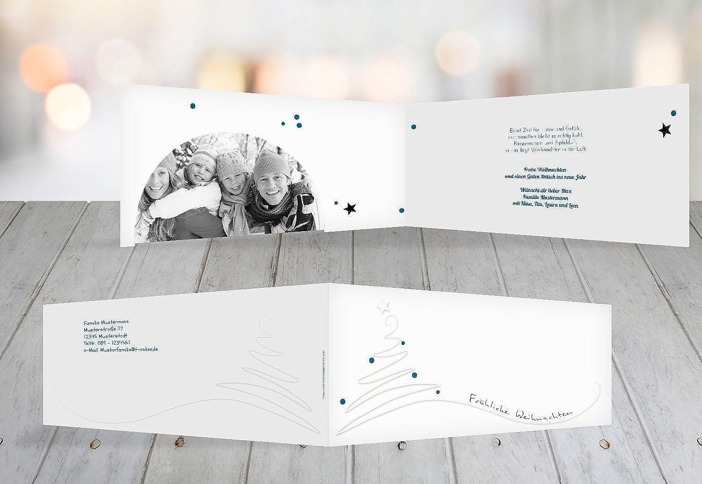 Kartenparadies Grußkarte Weihnachten Foto Grußkarte Linienbaum 2, hochwertige Weihnachtsgrüße als Weihnachtskarte (Format  215x105 mm) Farbe  MattBlauDunkler B01N5OTHK4    | Verwendet in der Haltbarkeit