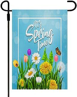 Yileqi Spring Garden Flag Vertical Double Sided, Burlap Seasonal Spring Flower Garden Flag Yard Outdoor Decoration 12.5 x ...
