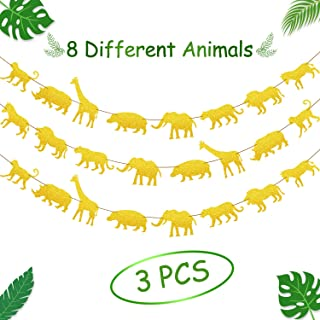 3 Pieces Gold Jungle Safari Animal Banner Garland Zoo Themed Baby Shower Boys Girls Birthday Party Supplies Lion Theme Party Decorations
