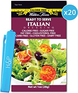 Walden Farms On-the-Go Salad Dressing Packets in Ready to Serve Calorie Free Packs, 20 - 1 oz Italian Pouches with H&P Clip