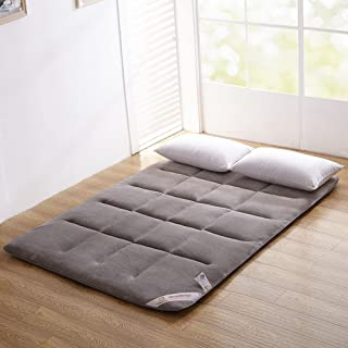 ColorfulMart Gray Grey Flannel Japanese Floor Futon Mattress. Sleeping Mattress, Tatami Mat, Japanese Bed Roll, Foldable Roll Up Mattress, Rolling Bed Shikibuton. Queen Size