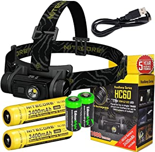EdisonBright Bundle: Nitecore HC60 1000 Lumens CREE XM-L2 U2 LED headlamp with Two Genuine Nitecore NL189 18650 3400mAh Li-ion Rechargeable Batteries and Two CR123A Lithium Batteries