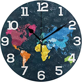 Senwei Colorful World Map Wall Clock Acrylic Decorative Round Clock Art for Home Decor Living Room Bedroom